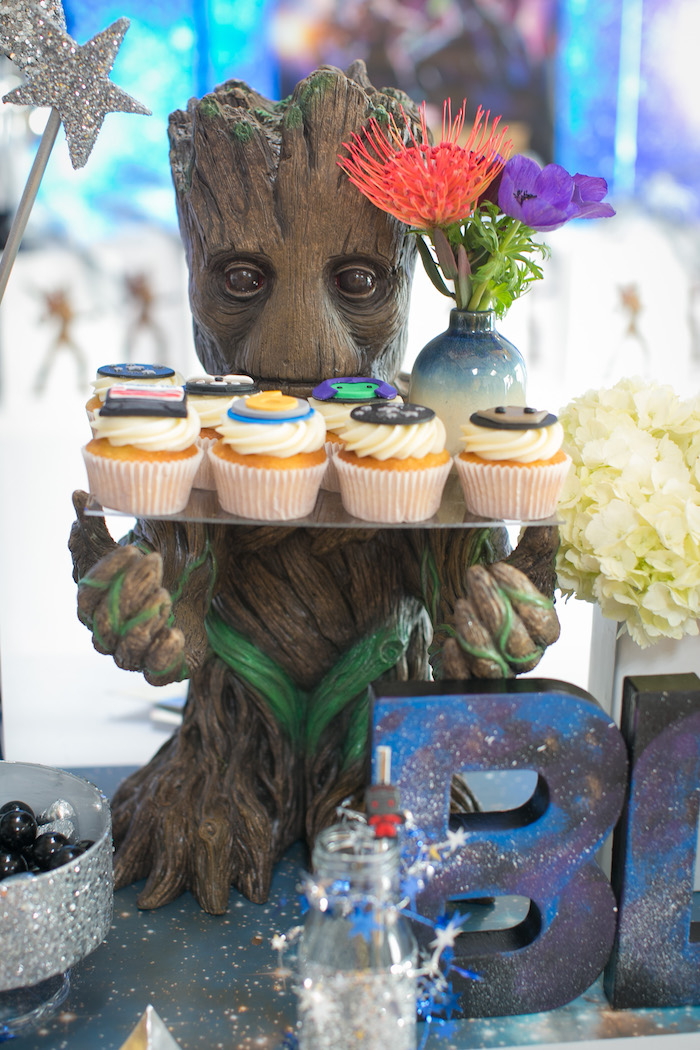 "Groot cupcake stand from a ""Guardians of the Galaxy"" Birthday Party on Kara's Party Ideas 