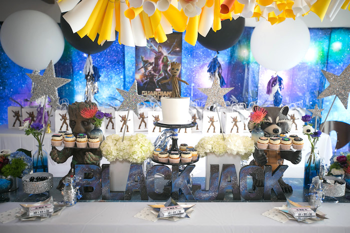 "Guest table from a ""Guardians of the Galaxy"" Birthday Party on Kara's Party Ideas 