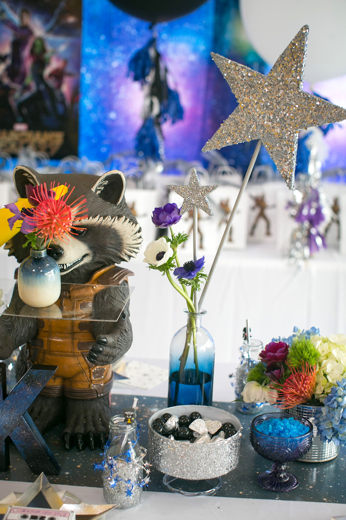 "Floral star centerpiece from a ""Guardians of the Galaxy"" Birthday Party on Kara's Party Ideas 