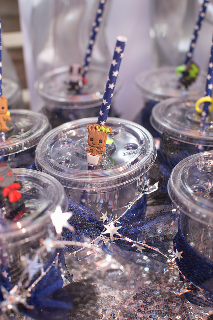 "Guardian straw toppers from a ""Guardians of the Galaxy"" Birthday Party on Kara's Party Ideas 