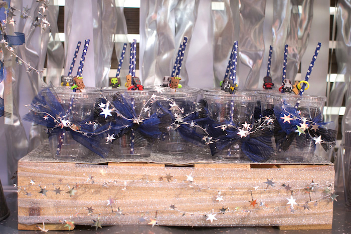 "Galaxy cups from a ""Guardians of the Galaxy"" Birthday Party on Kara's Party Ideas 