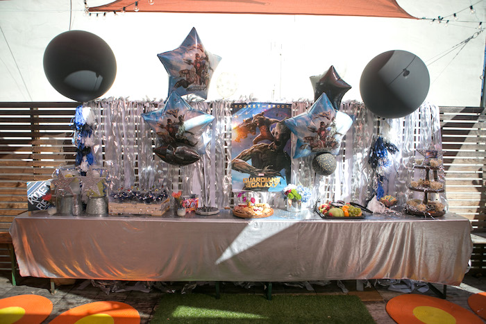 "Food table from a ""Guardians of the Galaxy"" Birthday Party on Kara's Party Ideas 