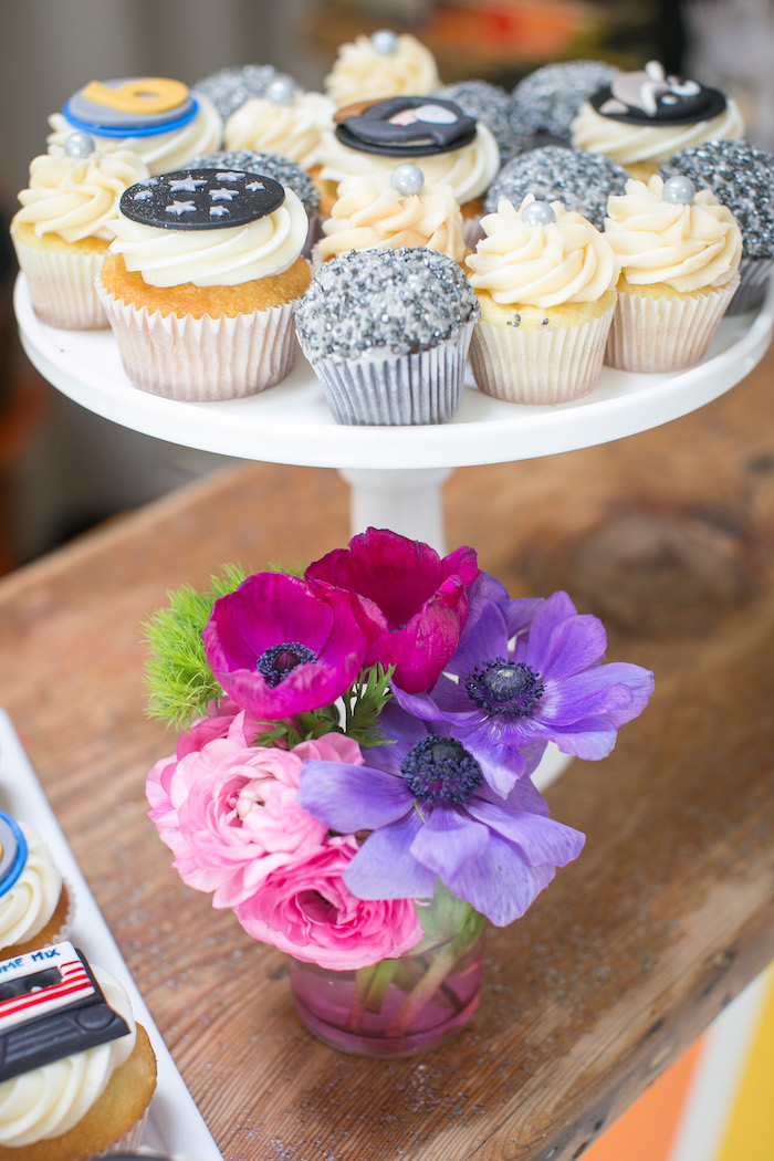 "Cupcakes & blooms from a ""Guardians of the Galaxy"" Birthday Party on Kara's Party Ideas 