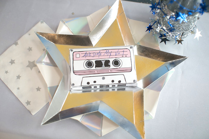 "Casette tape place card + star plate from a ""Guardians of the Galaxy"" Birthday Party on Kara's Party Ideas 