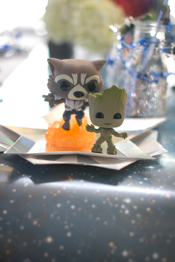 "Rocket and Groot figurines from a ""Guardians of the Galaxy"" Birthday Party on Kara's Party Ideas 