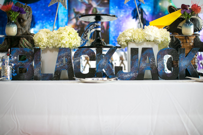 "Lettering from a ""Guardians of the Galaxy"" Birthday Party on Kara's Party Ideas 
