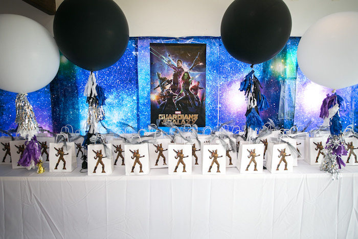 "Favor table from a ""Guardians of the Galaxy"" Birthday Party on Kara's Party Ideas 