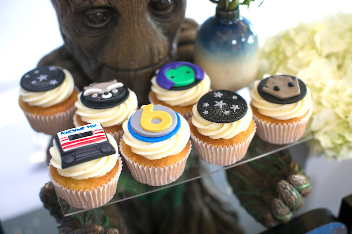 "Cupcakes from a ""Guardians of the Galaxy"" Birthday Party on Kara's Party Ideas 
