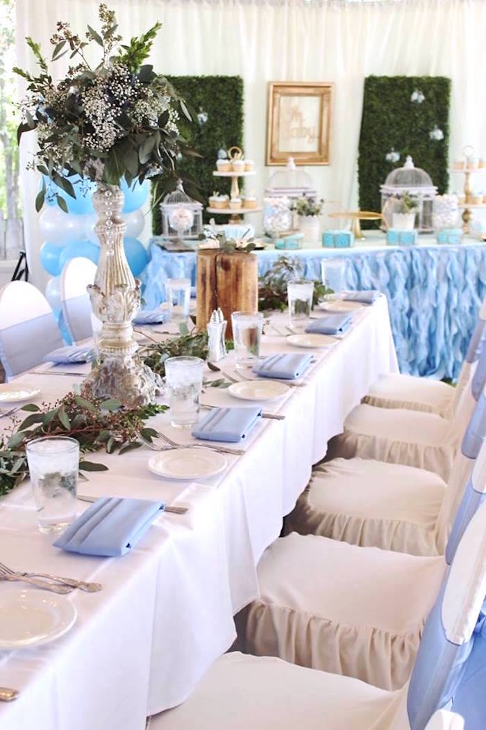 """Guest tablescape from a """"Oh Baby"""" Boy Baby Shower on Kara's Party Ideas 