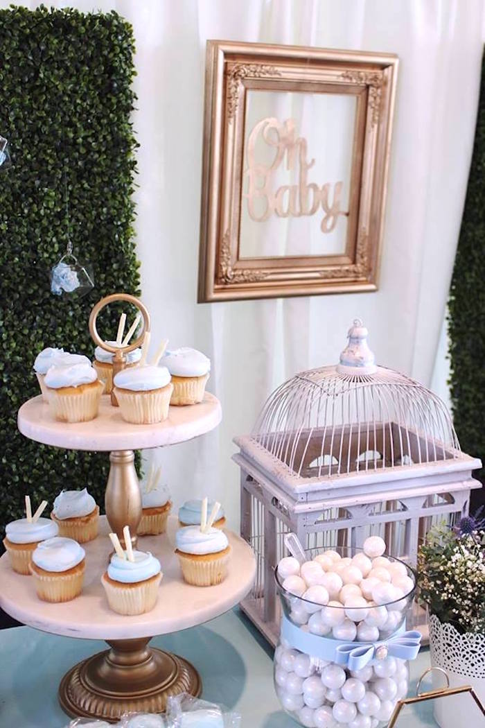"""Dessert table detail from a """"Oh Baby"""" Boy Baby Shower on Kara's Party Ideas 