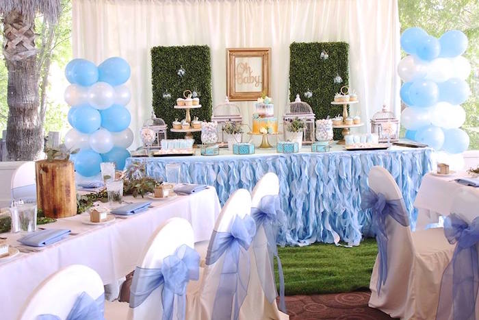 """Party tables from a """"Oh Baby"""" Boy Baby Shower on Kara's Party Ideas 