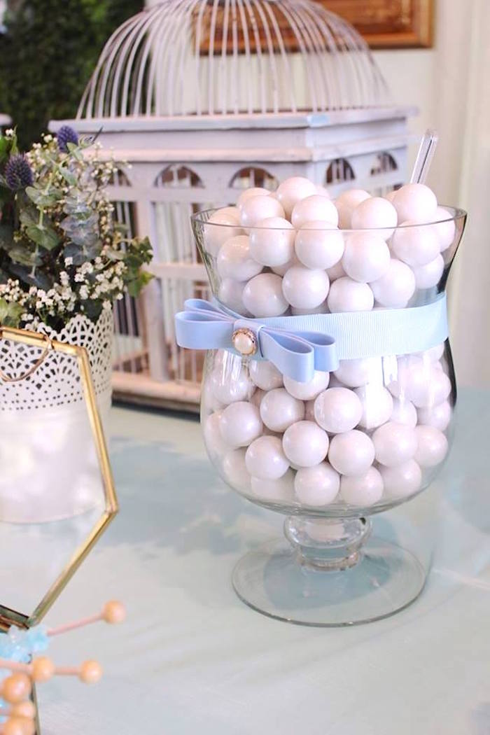"""Ribboned apothecary jar from a """"Oh Baby"""" Boy Baby Shower on Kara's Party Ideas 