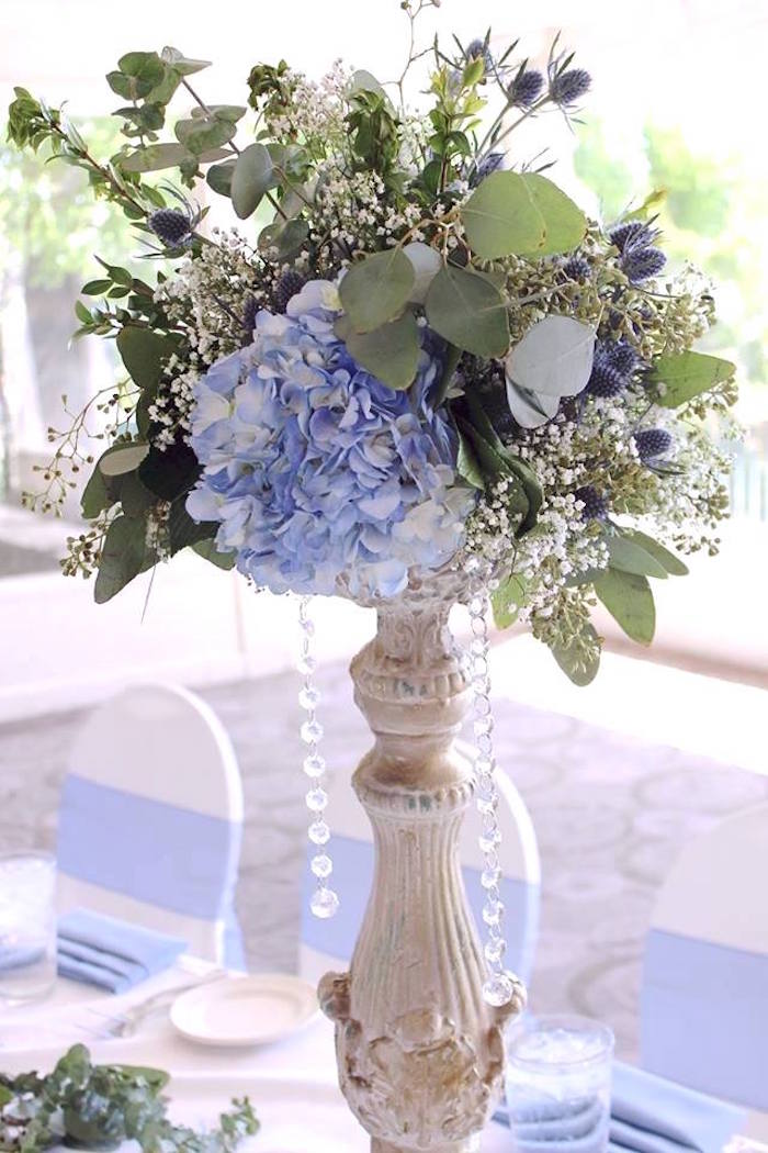 """Floral centerpiece from a """"Oh Baby"""" Boy Baby Shower on Kara's Party Ideas 
