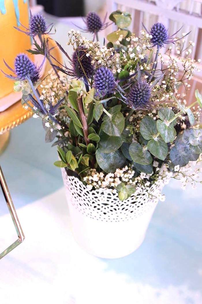 """Blooms from a """"Oh Baby"""" Boy Baby Shower on Kara's Party Ideas 