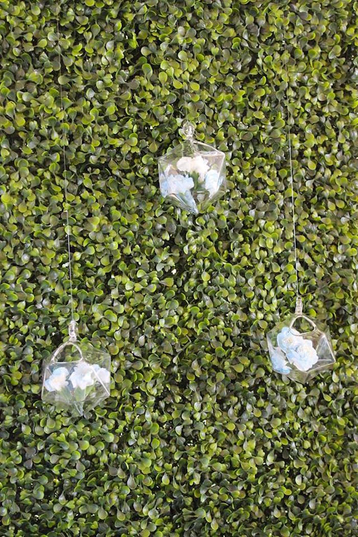 """Hanging baubles from a """"Oh Baby"""" Boy Baby Shower on Kara's Party Ideas 