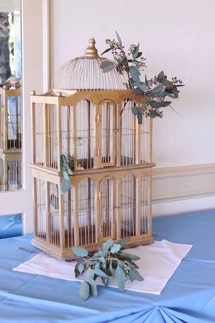 """Gold cage from a """"Oh Baby"""" Boy Baby Shower on Kara's Party Ideas 