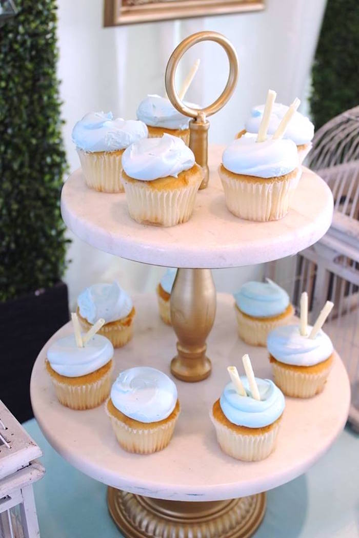 """Cupcakes from a """"Oh Baby"""" Boy Baby Shower on Kara's Party Ideas 