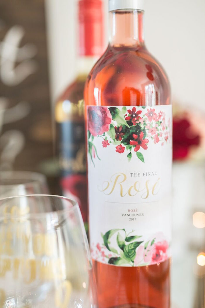 """Final Rose"" wine from ""The Bachelor"" Viewing Party on Kara's Party Ideas 