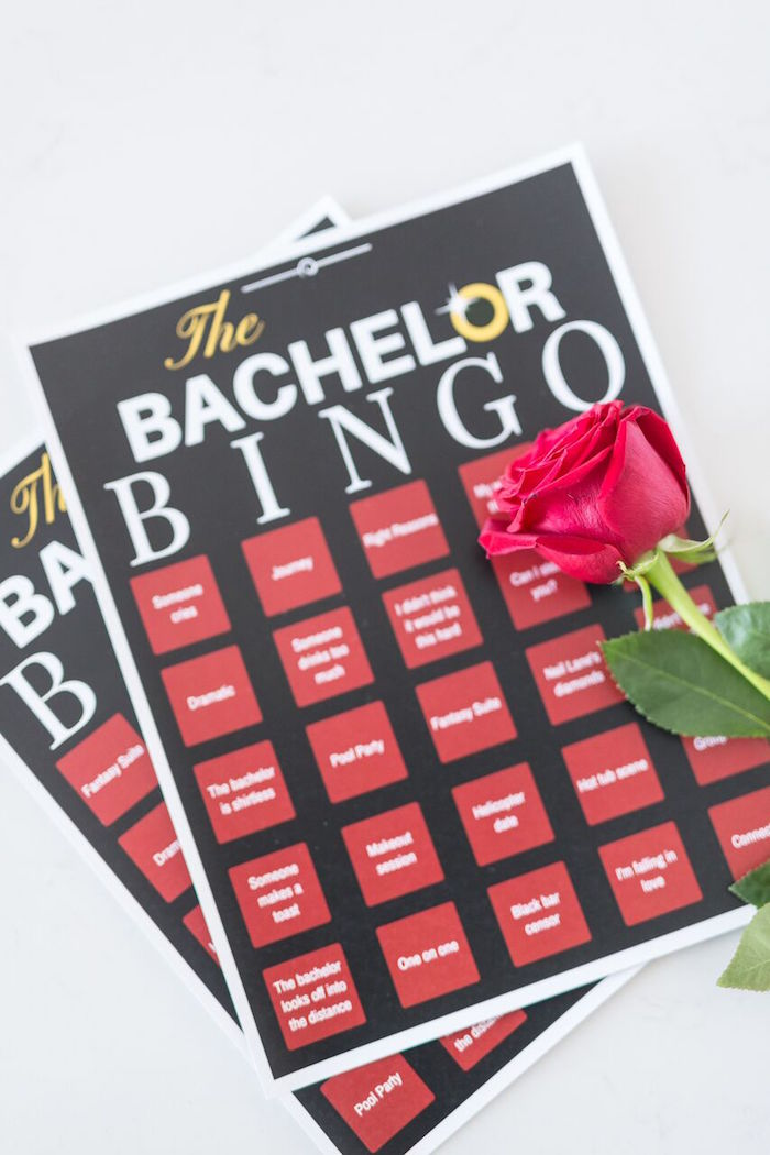 "Bachelor Bingo from ""The Bachelor"" Viewing Party on Kara's Party Ideas 
