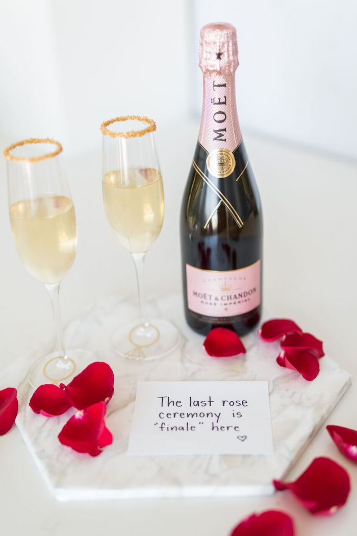 "Champagne + glasses from ""The Bachelor"" Viewing Party on Kara's Party Ideas 