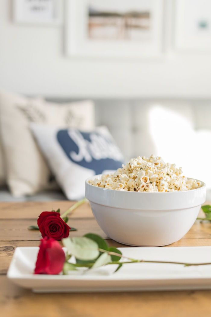 "Popcorn bowl from ""The Bachelor"" Viewing Party on Kara's Party Ideas 