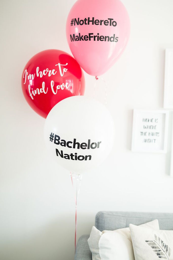 "The Bachelor themed balloons from ""The Bachelor"" Viewing Party on Kara's Party Ideas 