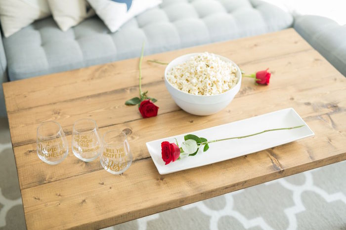"Wood table from ""The Bachelor"" Viewing Party on Kara's Party Ideas 
