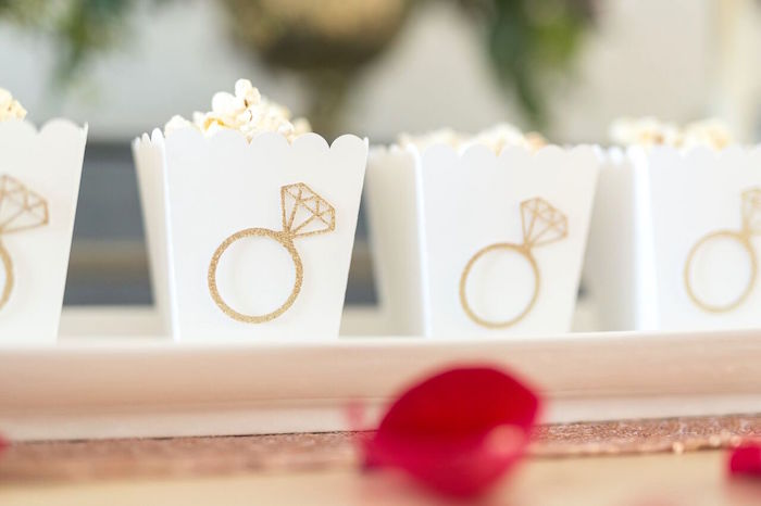 "Ring popcorn boxes from ""The Bachelor"" Viewing Party on Kara's Party Ideas 