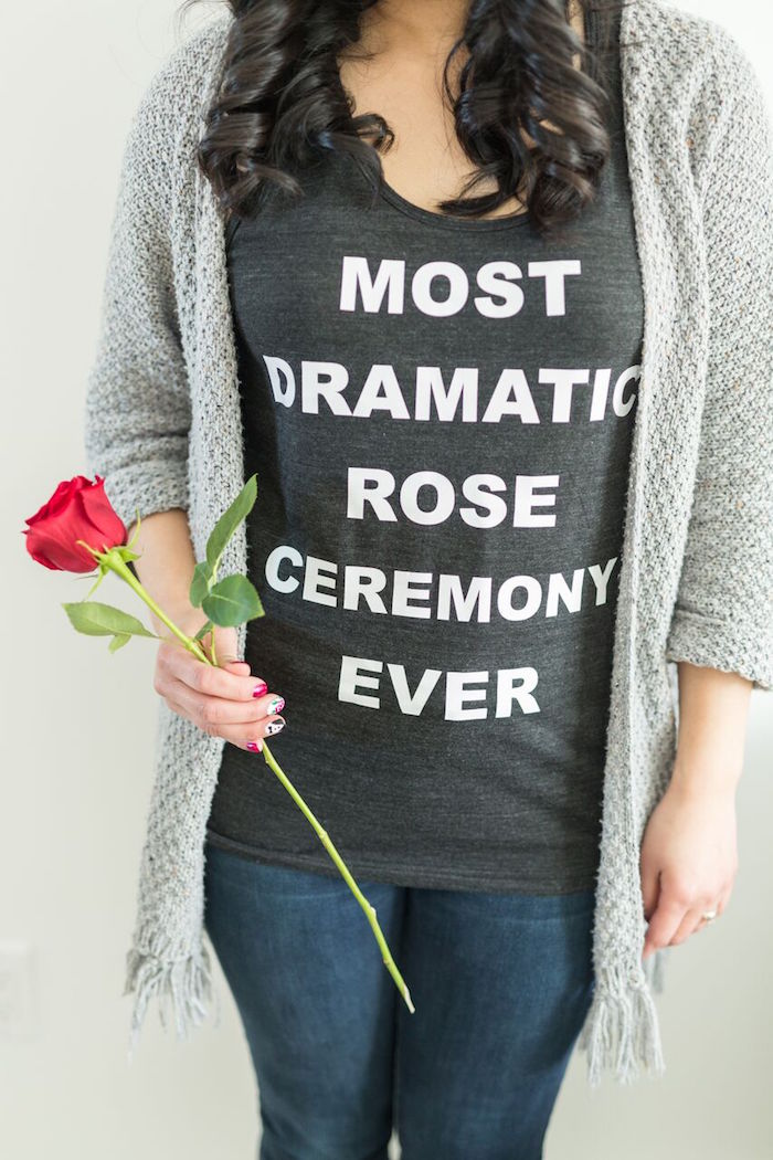 "Custom Bachelor Phrase T-Shirt from ""The Bachelor"" Viewing Party on Kara's Party Ideas 