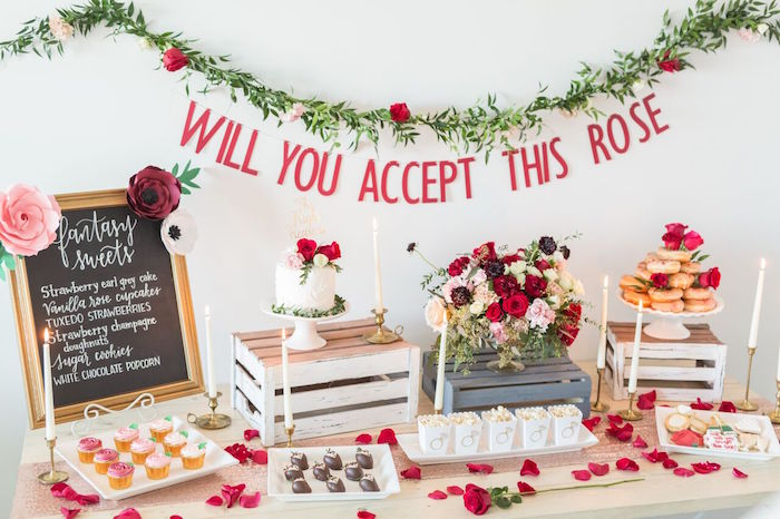 "Dessert table from ""The Bachelor"" Viewing Party on Kara's Party Ideas 