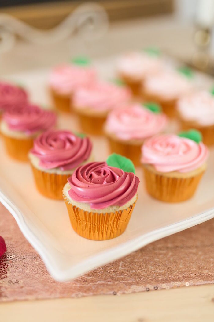 "Rose cupcakes from ""The Bachelor"" Viewing Party on Kara's Party Ideas 