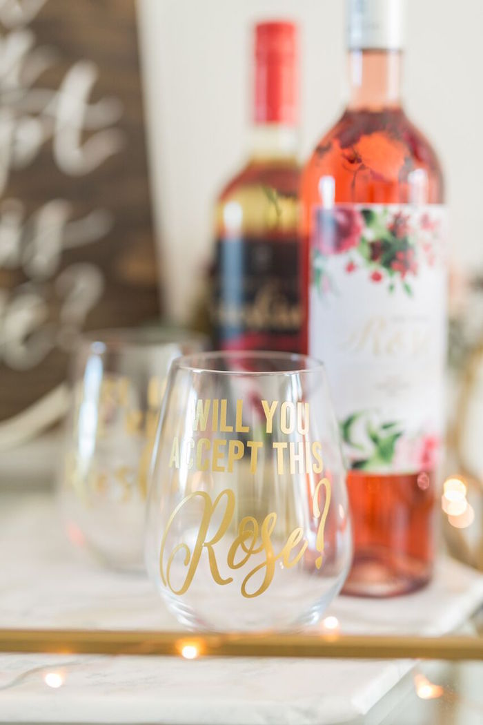 "'Will You Accept This Rose' drink glass from ""The Bachelor"" Viewing Party on Kara's Party Ideas 