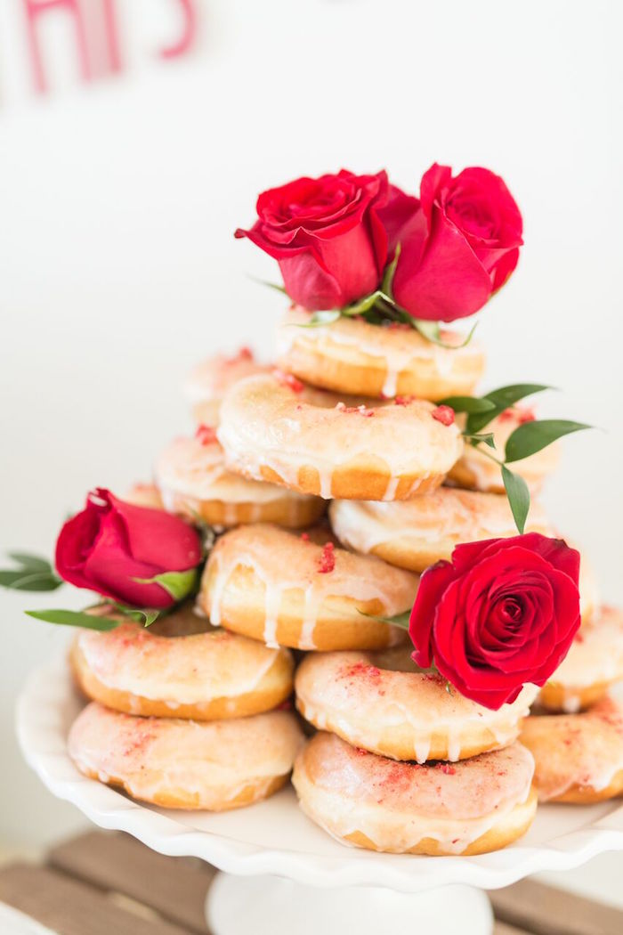 "Strawberry champagne doughnuts from ""The Bachelor"" Viewing Party on Kara's Party Ideas 