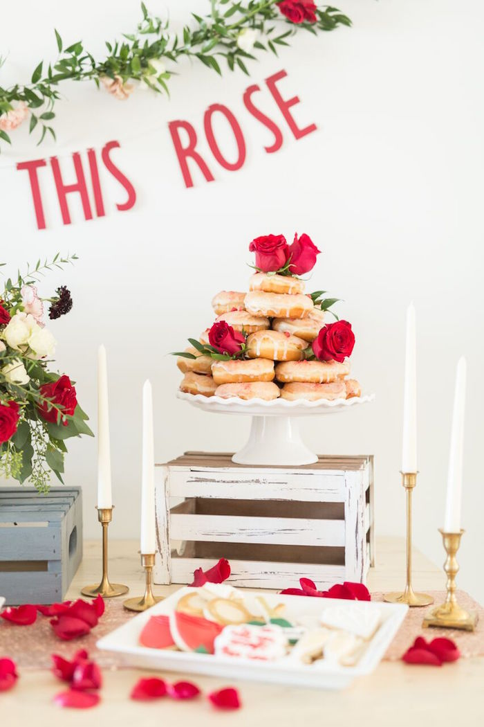 "Romantic doughnut tower from ""The Bachelor"" Viewing Party on Kara's Party Ideas 
