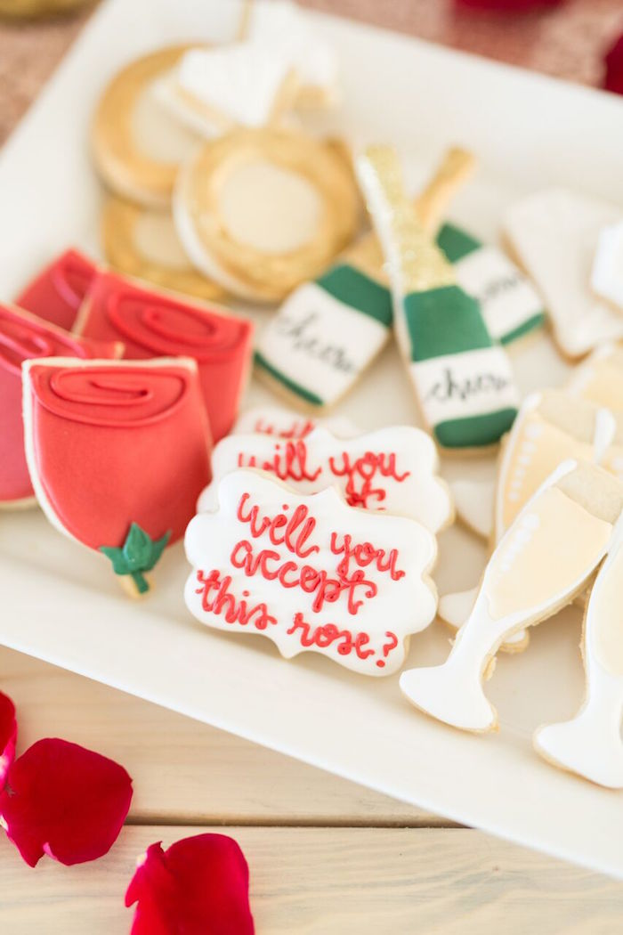 "The Bachelor-inspired cookies from ""The Bachelor"" Viewing Party on Kara's Party Ideas 