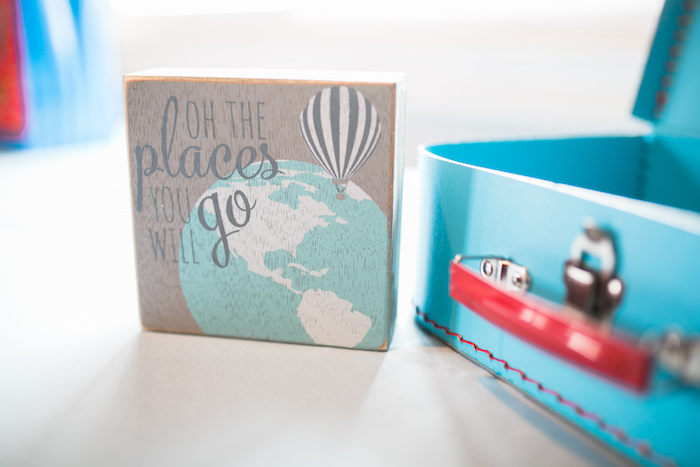 """Oh The places You'll Go"" sign from a ""Time Flies"" Airplane Birthday Party on Kara's Party Ideas 
