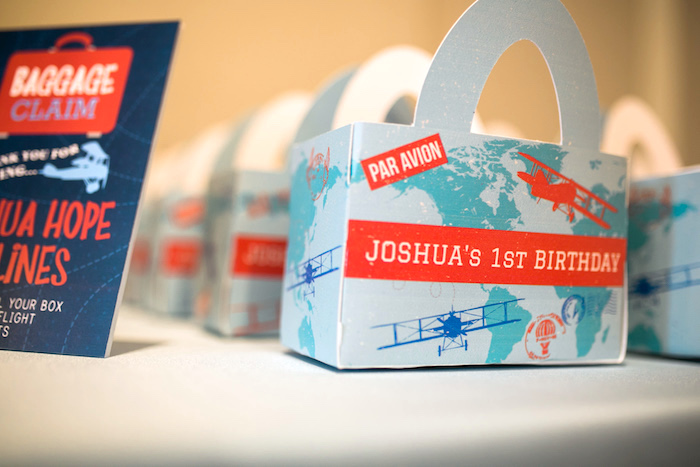 "Map gable favor boxes from a ""Time Flies"" Airplane Birthday Party on Kara's Party Ideas 