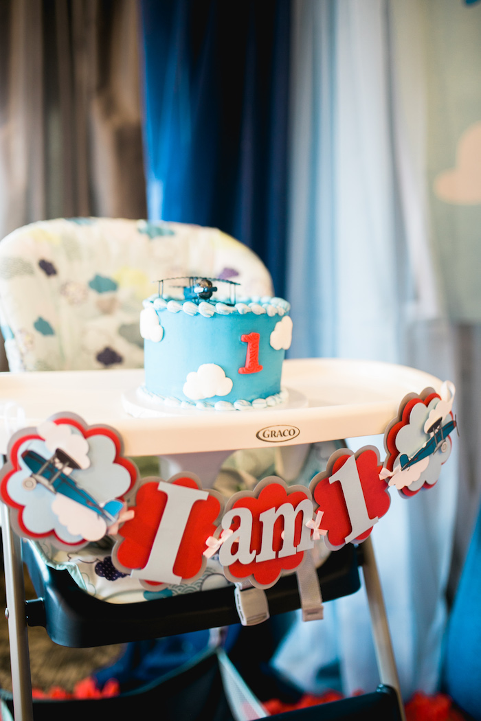 "Highchair & smash cake from a ""Time Flies"" Airplane Birthday Party on Kara's Party Ideas 