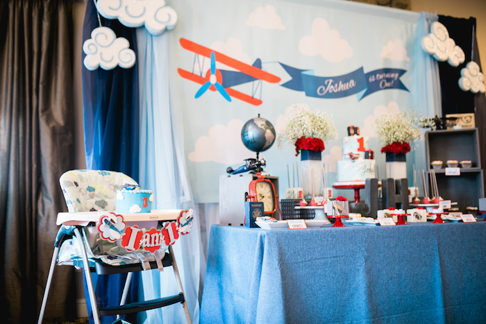 "Dessert tablescape from a ""Time Flies"" Airplane Birthday Party on Kara's Party Ideas 