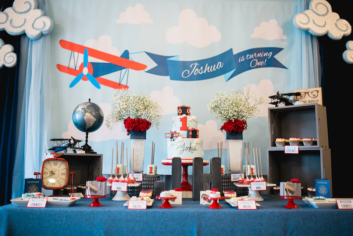 """Time Flies"" Airplane Birthday Party on Kara's Party Ideas 