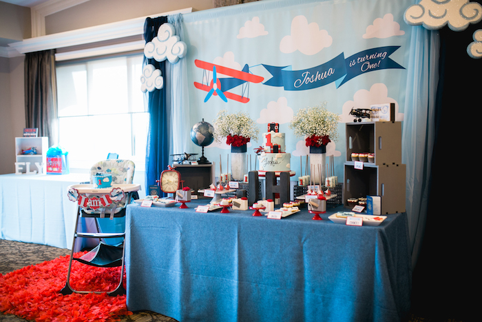 "Dessert table from a ""Time Flies"" Airplane Birthday Party on Kara's Party Ideas 