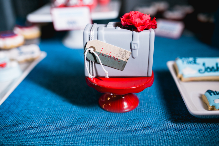 "Mini suitcase cake from a ""Time Flies"" Airplane Birthday Party on Kara's Party Ideas 