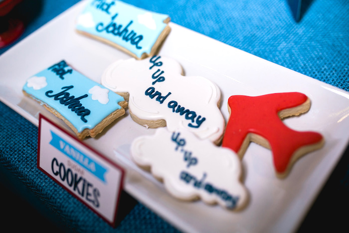 "Sugar cookies from a ""Time Flies"" Airplane Birthday Party on Kara's Party Ideas 