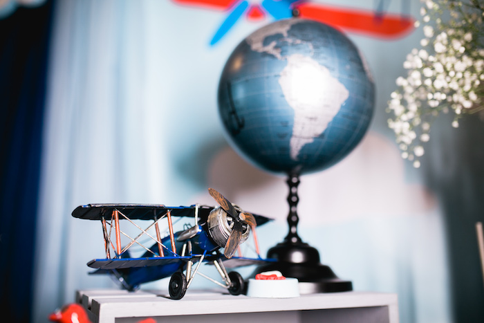 "Decor from a ""Time Flies"" Airplane Birthday Party on Kara's Party Ideas 