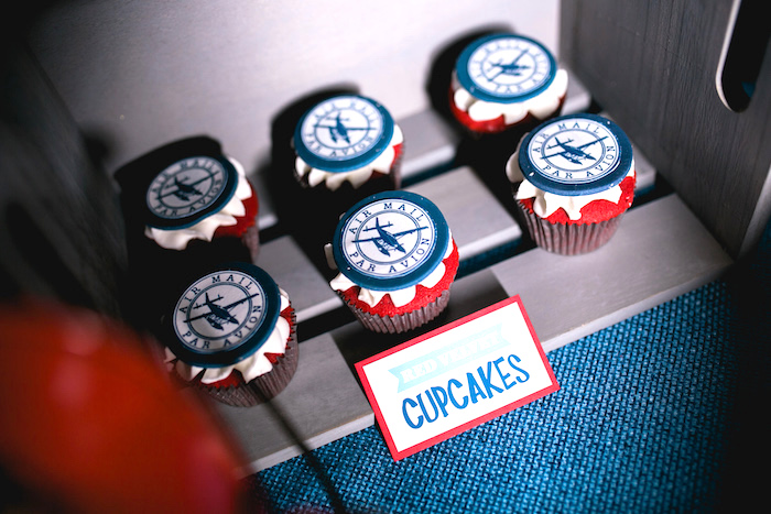 "Compass cupcakes from a ""Time Flies"" Airplane Birthday Party on Kara's Party Ideas 