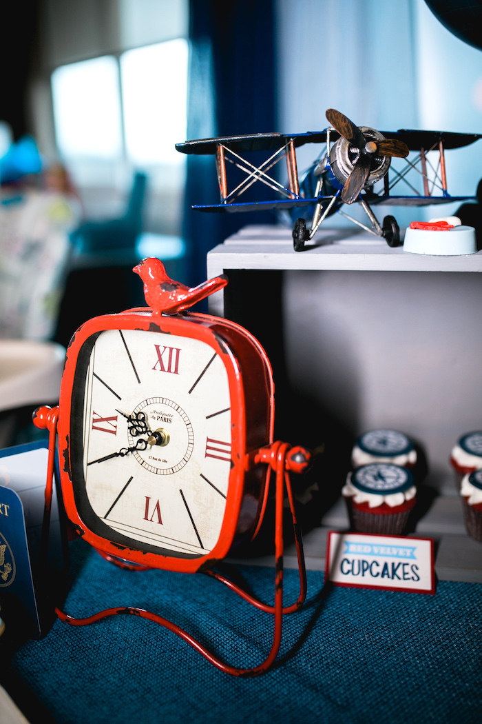 "Vintage clock from a ""Time Flies"" Airplane Birthday Party on Kara's Party Ideas 