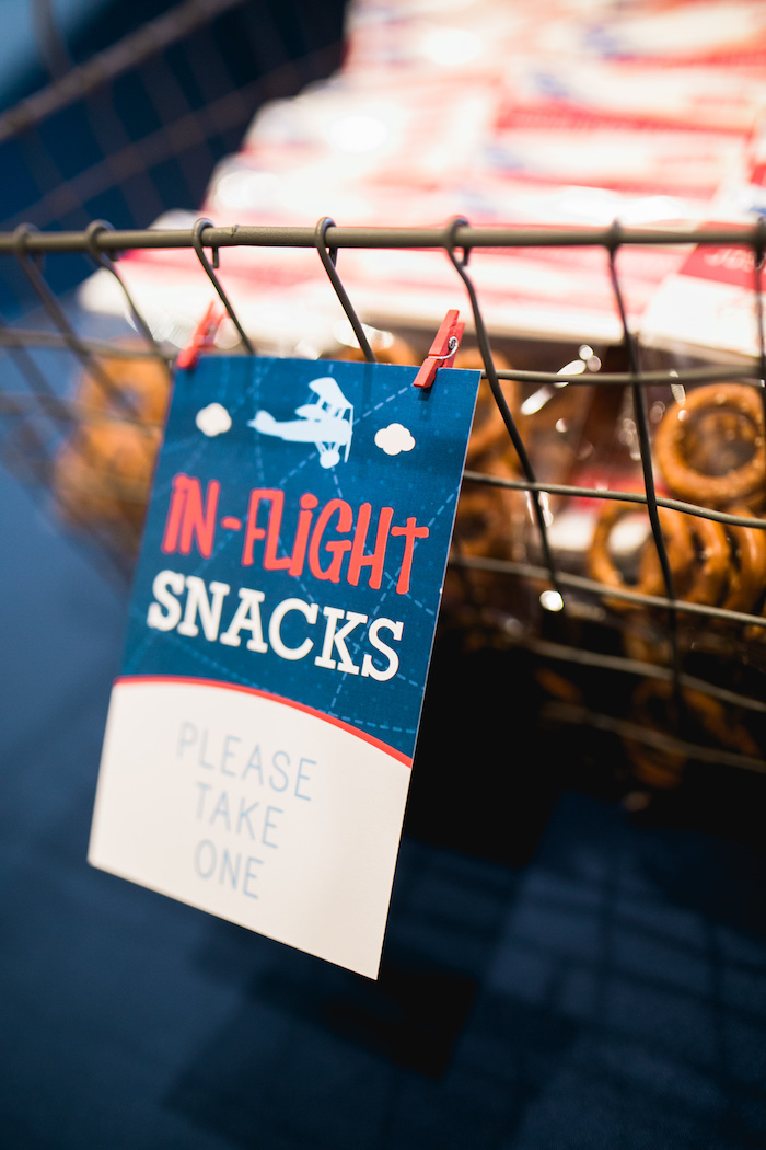 "Party signage + In-Flight Snacks from a ""Time Flies"" Airplane Birthday Party on Kara's Party Ideas 