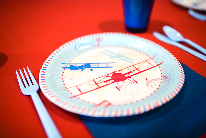 "Vintage airplane plate from a ""Time Flies"" Airplane Birthday Party on Kara's Party Ideas 