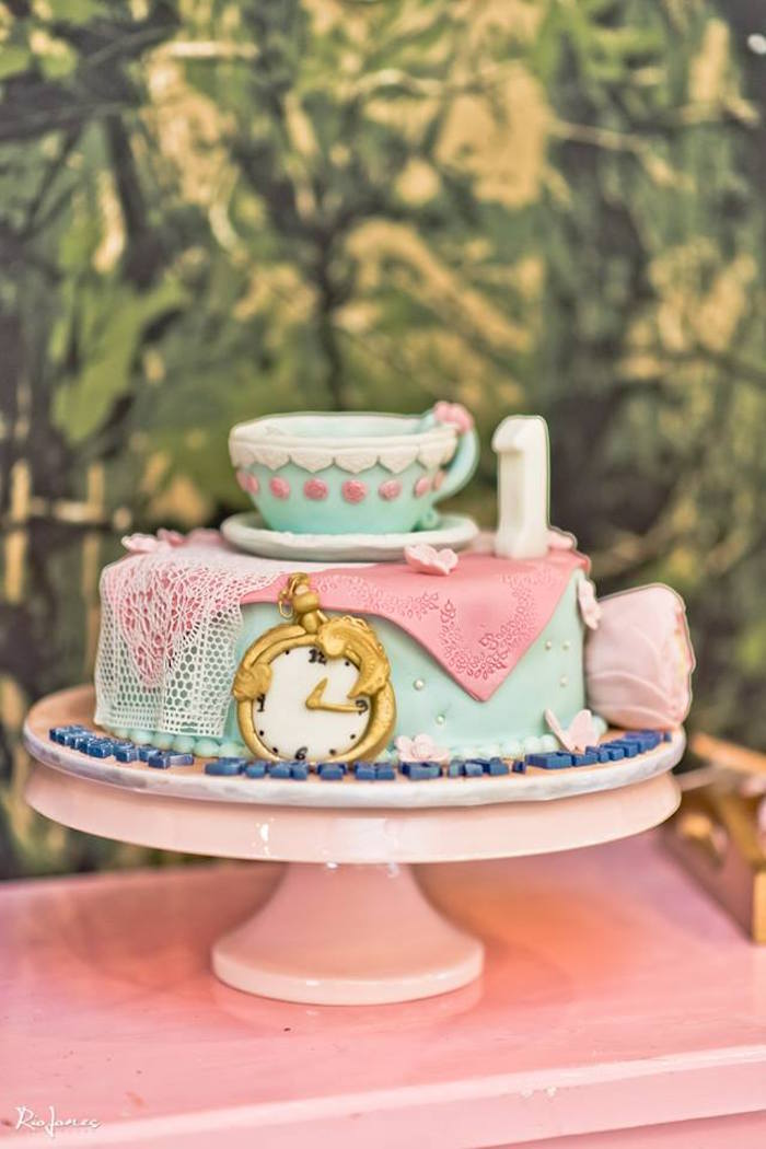 Alice in Wonderland Cake from an Alice in Wonderland Birthday Party on Kara's Party Ideas | KarasPartyIdeas.com (23)