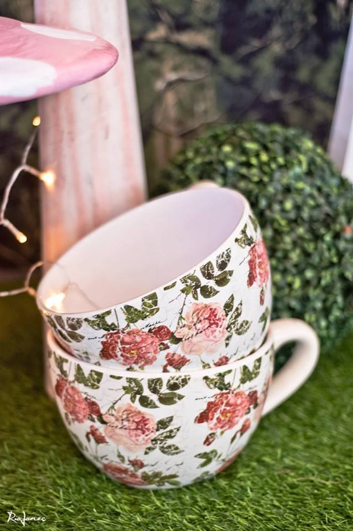 Stacked tea cups from an Alice in Wonderland Birthday Party on Kara's Party Ideas | KarasPartyIdeas.com (15)
